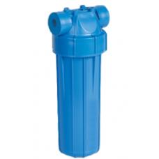"""AquaFilter 10"""" резьба 3/4"""", 6 bar, 2 упл. кольца натрубный корпус фильтра с синим стаканом и синей крышкой, возд. клапан, пластиковая"""