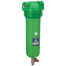 """AquaFilter  латунная резьба 1"""", 6 bar, антибактериальный, устойчивый к УФ излучению трёхэлементный прозрачный корпус фильтра с промывкой, 10"""", воздушный клапан."""