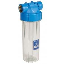 """AquaFilter 10""""  латунная резьба 1/2"""", 6 bar, 2 упл. кольца, натрубный корпус фильтра с прозр. стаканом и синей крышкой, возд. клапан,ИТАЛЬЯНСКИЙ СТИЛЬ."""