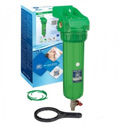 """AquaFilter  латунная резьба 1/2"""", 6 bar, антибактериальный, устойчив к УФ трёхэлементный прозрачный натрубный корпус фильтра с промывкой, 10"""", возд. клапан"""