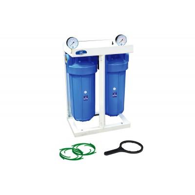 """AquaFilter 2-BB10 резьба 1"""" двойная система корпусов типа """"Big Blue"""" 10"""" на металлической монтажной рамке"""