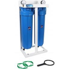"""AquaFilter 2-BB20 резьба 1"""" тройная система корпусов типа """"Big Blue"""" 20"""" на металлической монтажной рамке"""