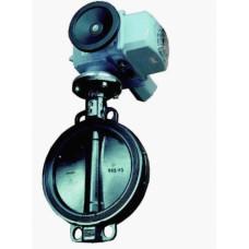 Поворотный клапан типа батерфляй с электрическим приводом PN10, межфланцевое соединение. Max перепад давления 1000 кПа. -10…120 °C, DN250, Kvs 5070 м3/ч, 220В, 3-поз.