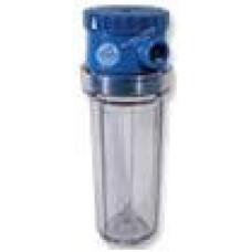 """AquaFilter 10"""" Классический прозрачный натрубный корпус фильтра, 6 bar, с латунной резьбой 3/4"""", классическая компановка с одним уплотительным кольцом."""