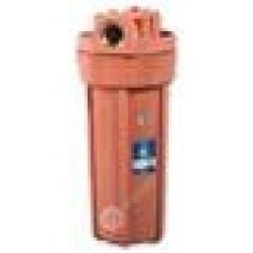 """AquaFilter 10"""" Корпус фильтра из нилона укреплённого стекловолокном, для горячей воды, оранжевый, 8.6 bar, до 93°C, с воздушным клапаном, латунная резьба 3/4""""."""