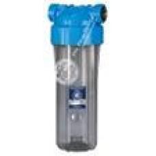 """AquaFilter 10"""" Натрубный корпус фильтра с прозр. стаканом и синей крышкой, возд. клапан, латунная резьба 1"""", 6 bar, 2 упл. кольца, ИТАЛЬЯНСКИЙ СТИЛЬ."""