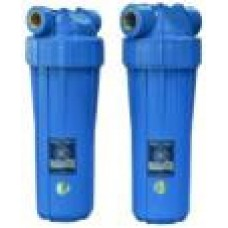 """AquaFilter 10"""" Натрубный корпус фильтра с синим стаканом и синей крышкой, возд. клапан, латунная резьба 1"""", 6 bar, 2 упл. кольца, ИТАЛЬЯНСКИЙ СТИЛЬ."""